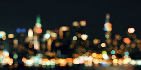 new york city panorama: Midtown Manhattan skyline bokeh at dusk panorama over Hudson River