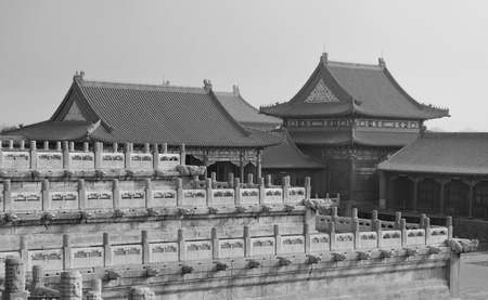 historical architecture: Historical architecture in Forbidden City in Beijing, China in black and white.