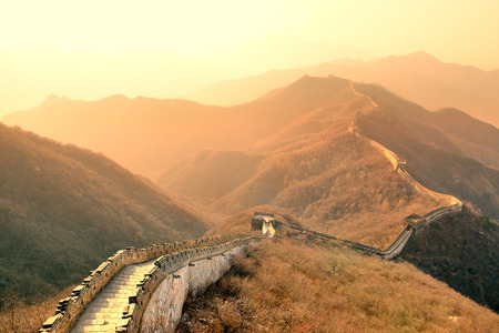 chinese wall: Great Wall in the morning with sunrise and colorful sky in Beijing, China.
