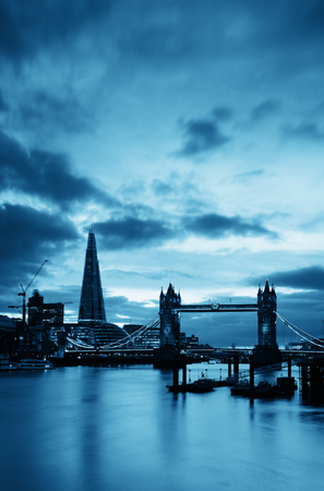 thames: The Shard and Tower Bridge over Thames River in London.