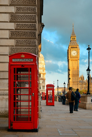 telephone box: LONDON, UK - SEP 27: Street view with Big Ben and telephone box on September 27, 2013 in London, UK. London is the worlds most visited city and the capital of UK.
