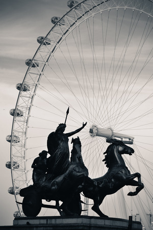 Queen Bodica statue in Westminster in London. Black and white