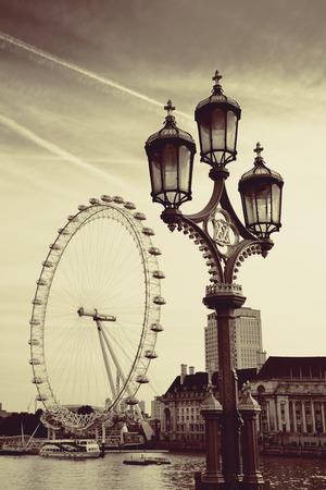 Vintage lamp post on Westminster Bridge in London.