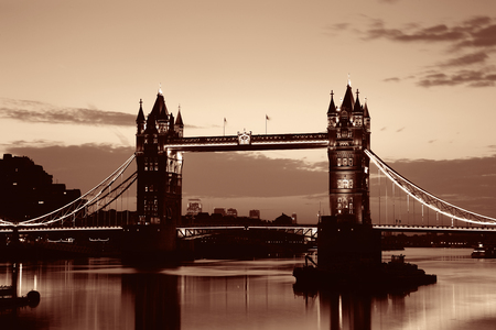 thames: Tower Bridge silhouette over Thames River in London.