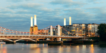 Battersea Power Station panorama over Thames river as the famous London landmark. photo