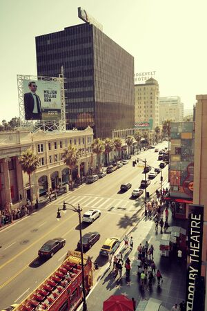 film industry: Los Angeles, CA - MAY 18: Hollywood street view on May 18, 2014 in Los Angeles. Started as a small community, it evolved into the home of world famous film industry Editorial