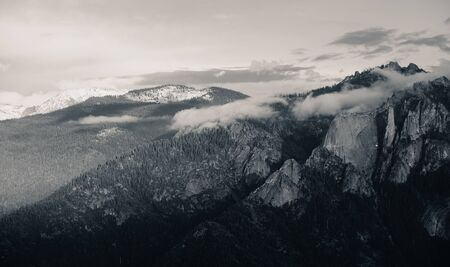 sequoia national park: Mountain with fog and cloud in Sequoia National Park Stock Photo