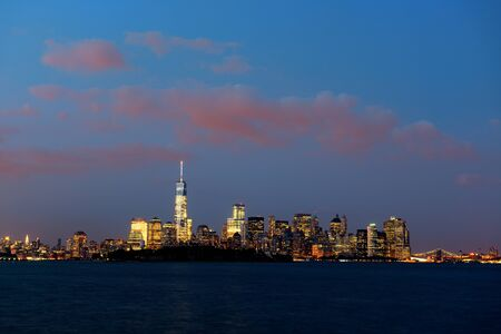 wtc: New York City downtown skyline panorama at blue hour Stock Photo