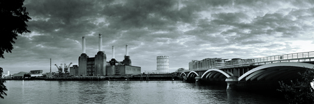 London cityscape panorama with urban buildings over Thames River photo