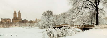 Central Park winter panorama with skyscrapers and Bow Bridge in midtown Manhattan New York City