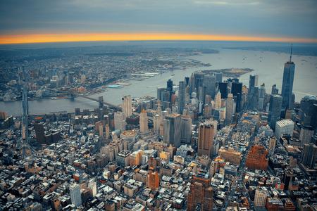 New York City Manhattan downtown aerial view with bridges