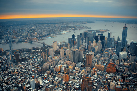 wtc: New York City Manhattan downtown aerial view with bridges