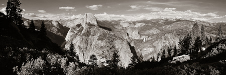 yosemite national park: Yosemite mountain ridge black and white with waterfall. Stock Photo