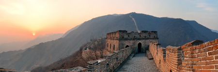 great wall: Great Wall sunset panorama over mountains in Beijing, China. Editorial