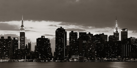 bw: Midtown Manhattan skyline at dusk panorama over East River in BW