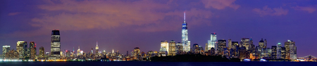 new york at night: New York City at night with urban architectures