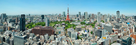 Tokyo Tower and urban skyline rooftop view, Japan.
