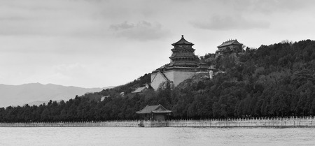 summer palace: Summer Palace with historical architecture in Beijing in black and white. Editorial