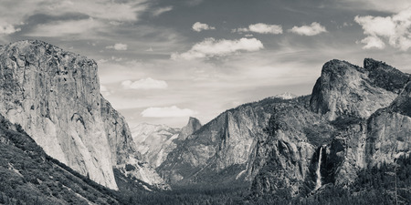 Yosemite Valley with mountains and waterfalls in black and white