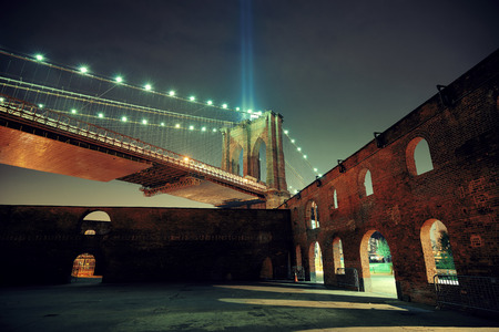 abandoned warehouse: New York City downtown Brooklyn Bridge and september 11 tribute at night