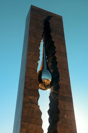 NEW JERSEY - MARCH 20: Teardrop Memorial closeup on March 20, 2014 in New Jersey. Given from Russian Government, it is the memorial to the victims of the September 11 attacks. Sajtókép