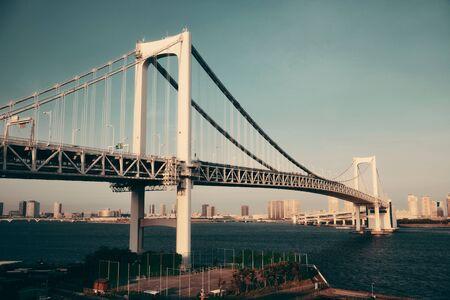 rainbow bridge: Tokyo bay with rainbow bridge closeup in Japan. Stock Photo