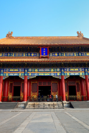 historical architecture: Doorway in historical architecture in Forbidden City in Beijing, China.