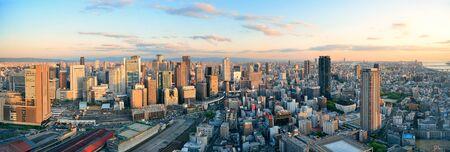 Osaka urban city rooftop view. Japan.