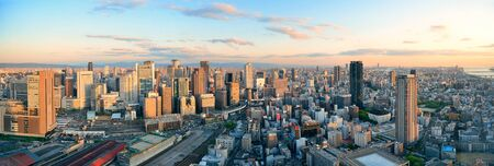 Osaka urban city rooftop view. Japan.
