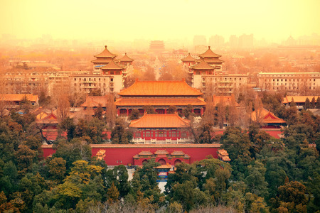 chinese pagoda: Aerial view of Beijing with historical architecture, China.