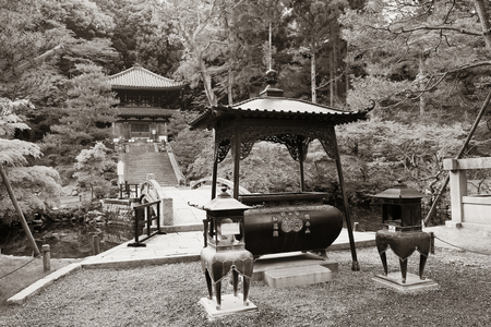 buliding: Shrine with historical building in Kyoto, Japan.
