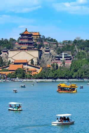 summer palace: Summer Palace with historical architecture, lake and boat in Beijing. Editorial