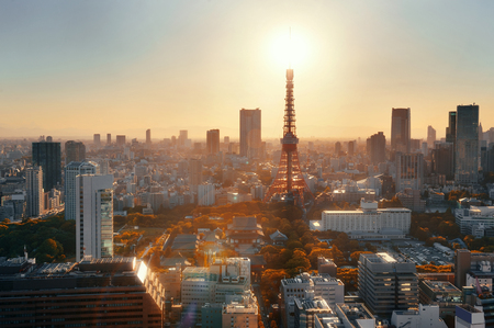 japan sunset: Tokyo Tower and urban skyline rooftop view at sunset, Japan. Stock Photo