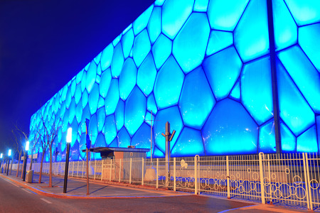 olympics: BEIJING, CHINA - APR 7: Beijing National Aquatics Center at night on April 7, 2013 in Beijing, China. The center was established for the 2008 Summer Olympics and Paralympics. Editorial