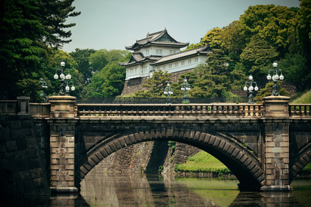 Tokyo Imperial Palace with bridge over river. Japan. Editöryel