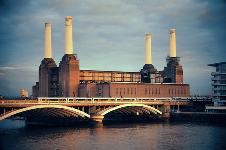 power industry: Battersea Power Station over Thames river as the famous London landmark. Stock Photo