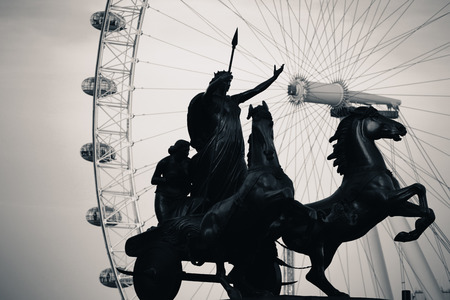 Queen Bodica statue in Westminster in London. Black and white photo