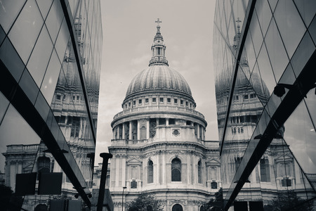 iconic: St Pauls Cathedral and reflections in day in London Stock Photo