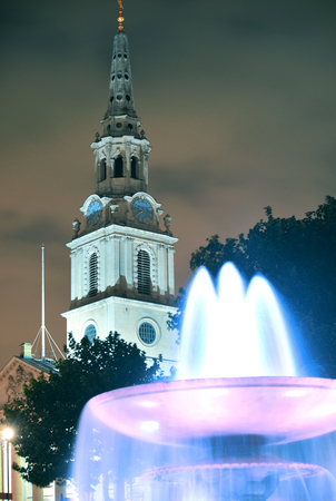 martin: Trafalgar Square at night with fountain and  St martin in the field in London