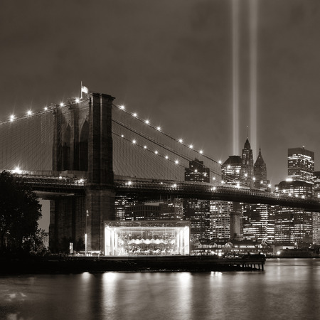 11: New York City downtown Brooklyn Bridge and september 11 tribute at night