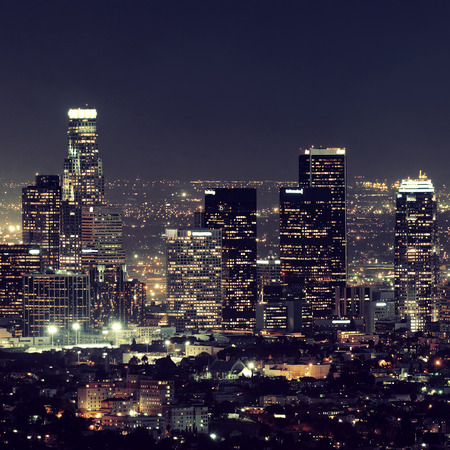 Los Angeles downtown buildings at night Фото со стока - 39423976
