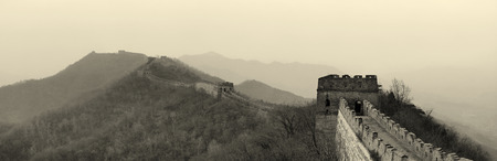greatwall: Great Wall panorama in black and white in Beijing, China