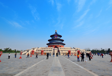 emperors: BEIJING, CHINA - APR 6: Temple of Heaven with tourists on April 6, 2013 in Beijing, China. It is the religious complex where the Emperors pray to the Heaven for good harvest.