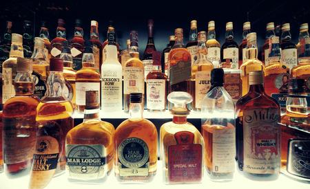beverage display: Scottish Whisky collection in Edinburgh.