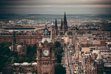 scott monument: Edinburgh city street viewed from Calton Hill. United Kingdom.