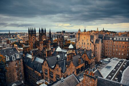 the historical: Edinburgh city rooftop view with historical architectures. United Kingdom.