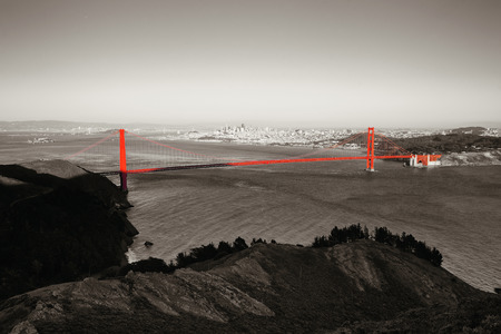 San Francisco Golden Gate Bridge viewed from mountain top Stock Photo