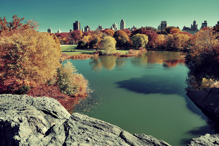 central park: Central Park Autumn and midtown skyline over lake in Manhattan New York City Stock Photo