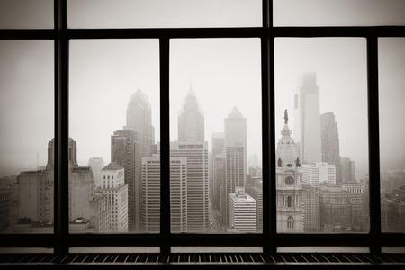 Philadelphia city rooftop view through window Standard-Bild