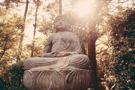 buliding: Buddha statue in shrine with historical building in Kyoto, Japan.